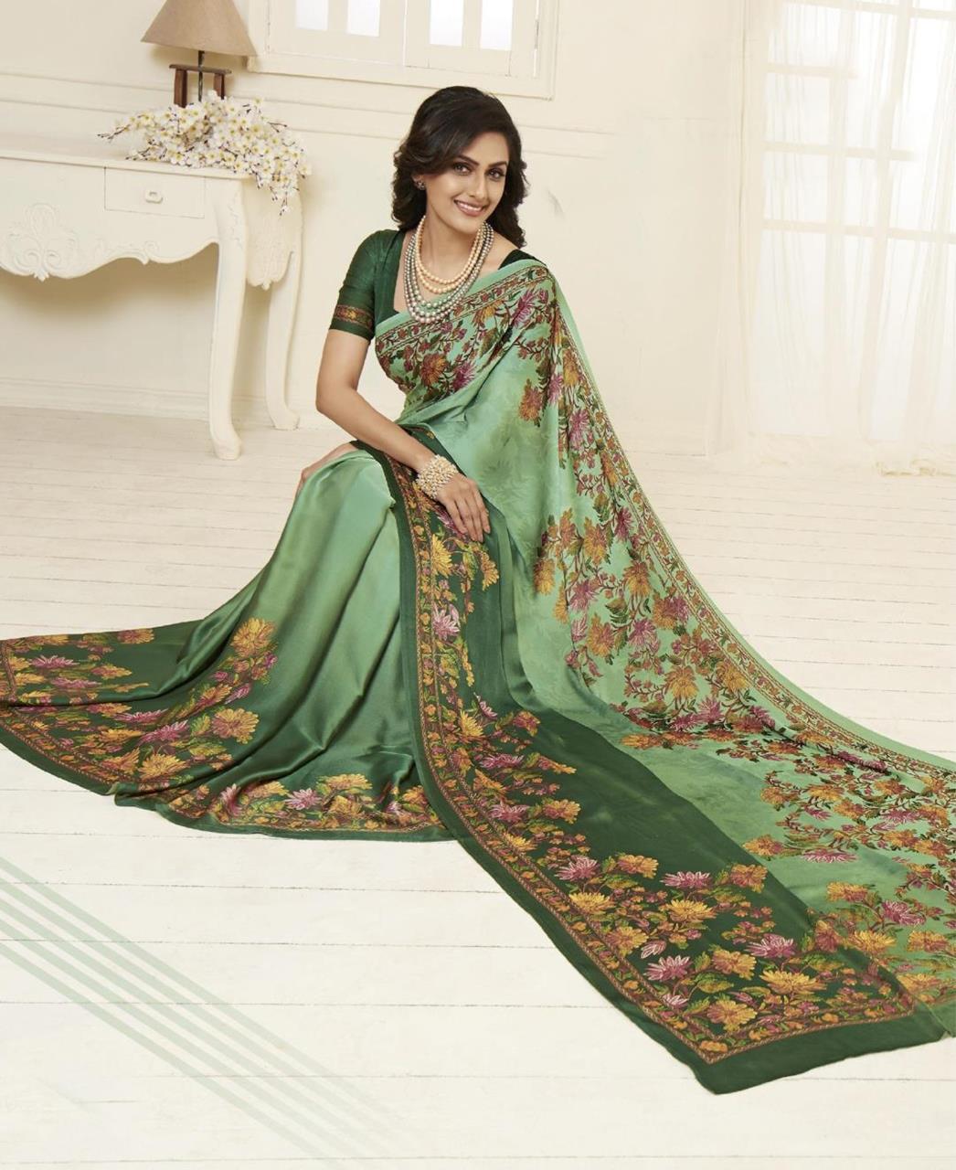 Printed Satin Saree in Green