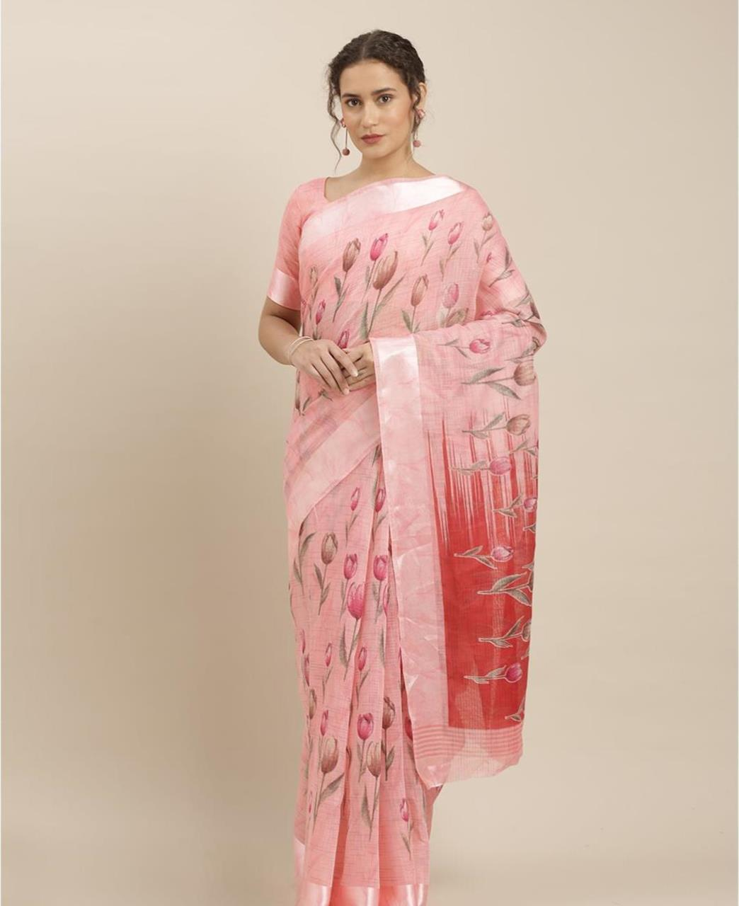 Printed Cotton Saree in Light Pink