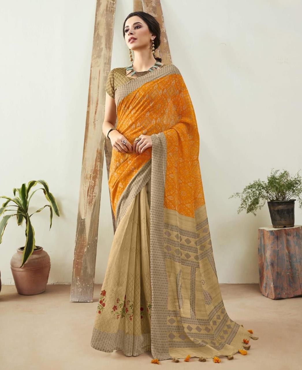 Printed Cotton Saree in Orange