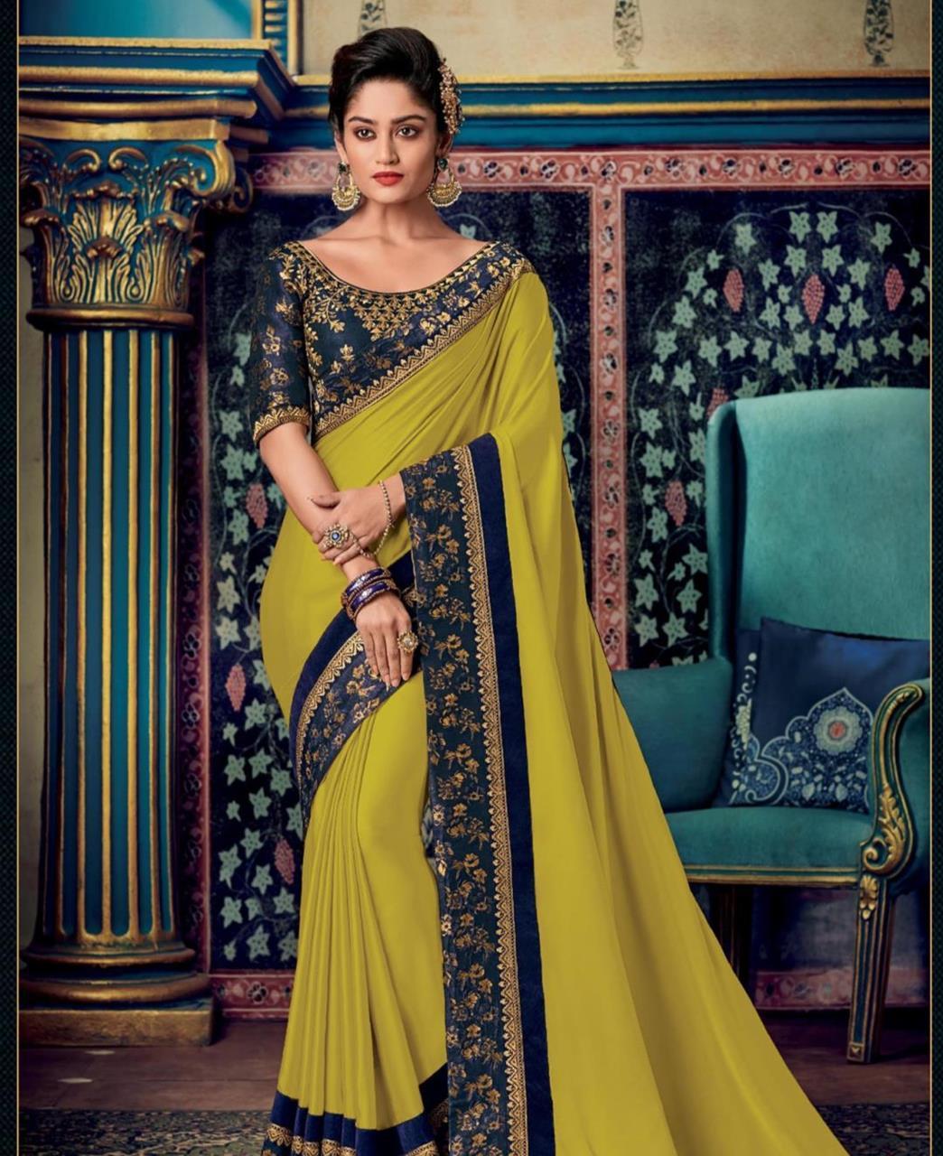 Plain Art Silk Saree in OLIVE
