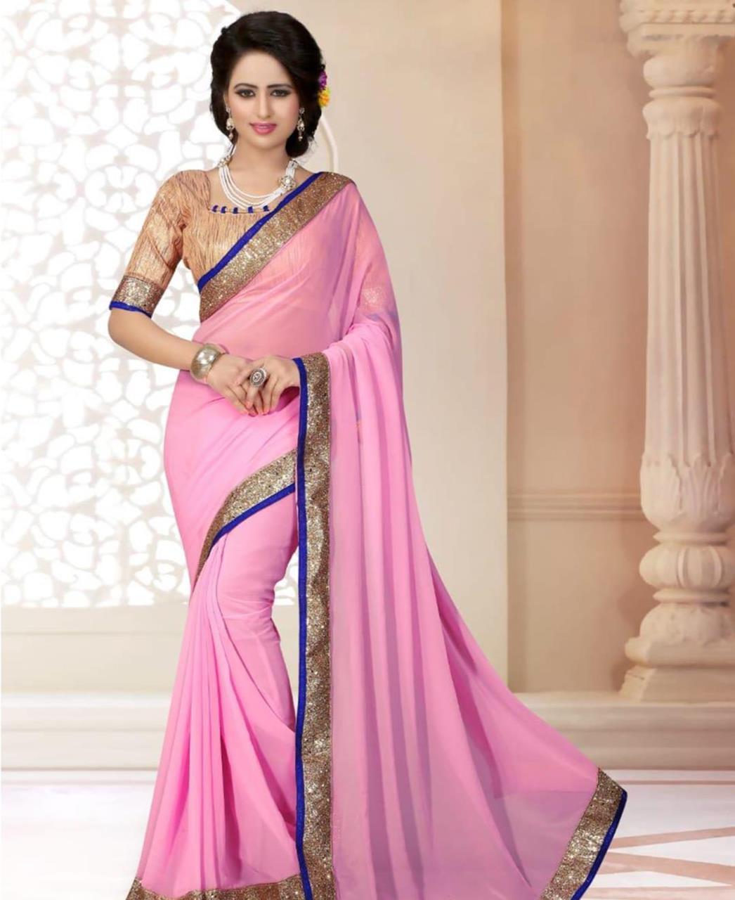 Lace Georgette Saree (Sari) in Pink