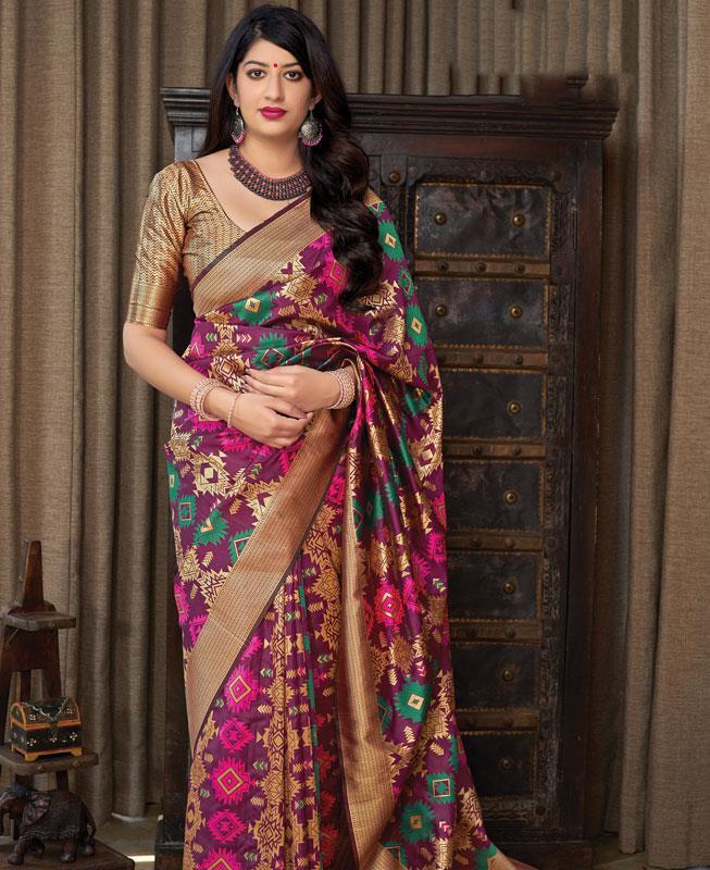 Woven Banarasi Silk Saree (Sari) in  Purple