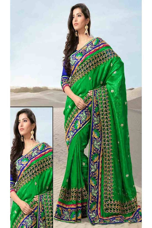 Embroidered Jacquard Saree (Sari) in Green