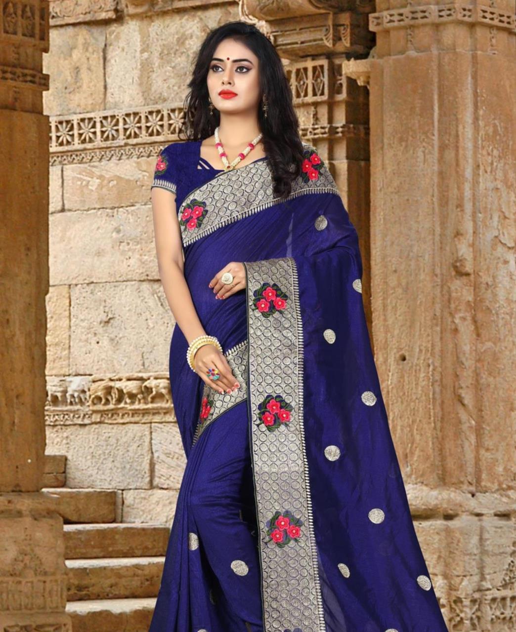 Resham Silk Saree (Sari) in Blue