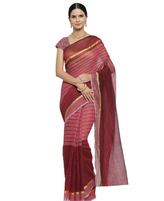 Printed Cotton Saree in Maroon