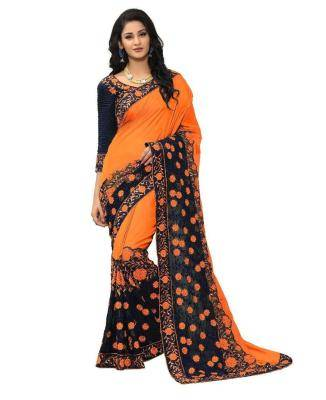 Embroidered Georgette Saree (Sari) in Orange