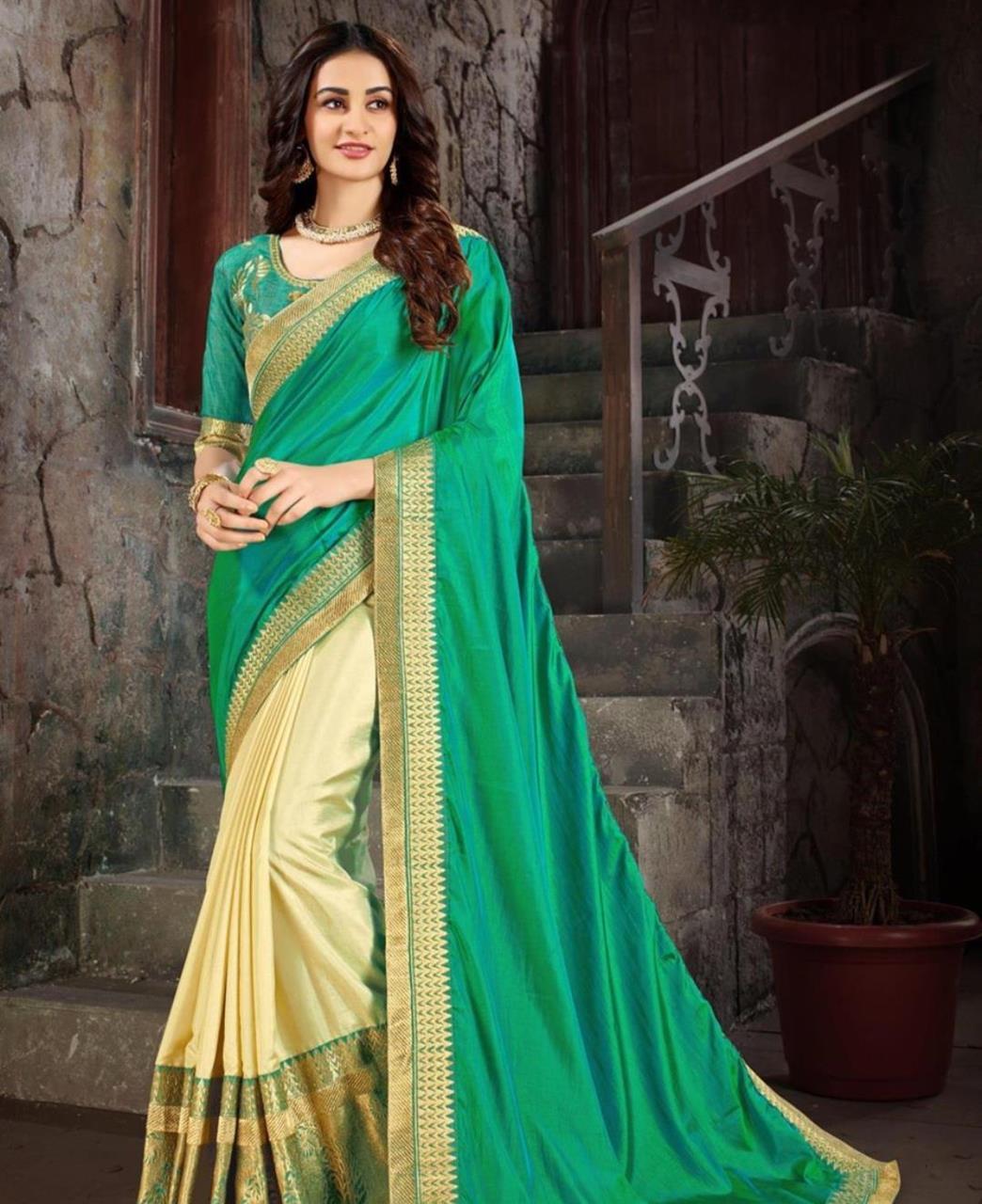 Embroidered Art Silk Saree (Sari) in Green