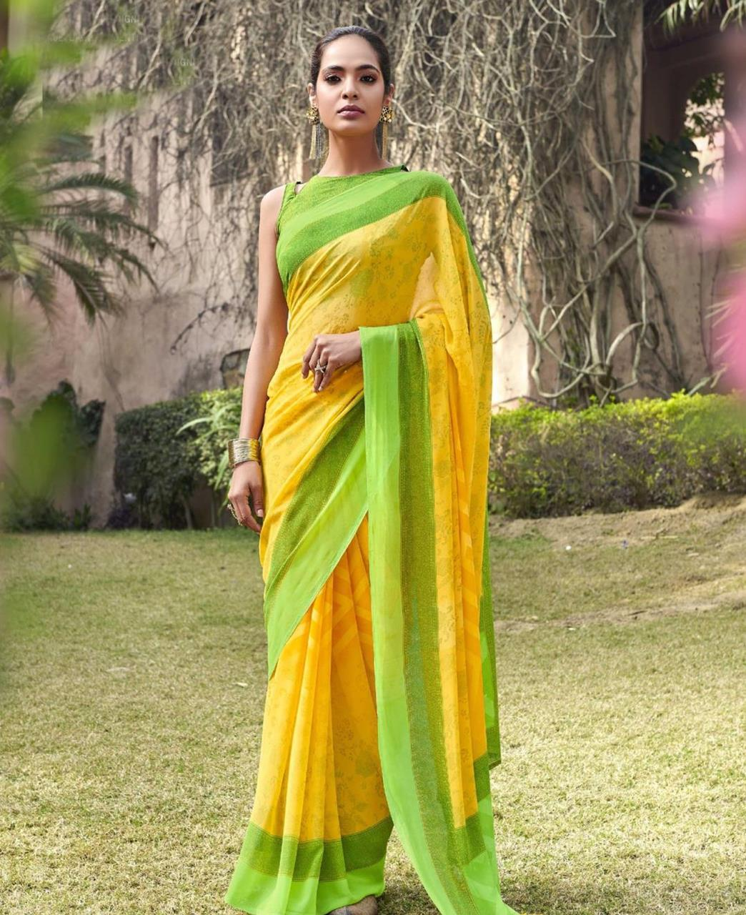 Printed Georgette Saree in Yellow