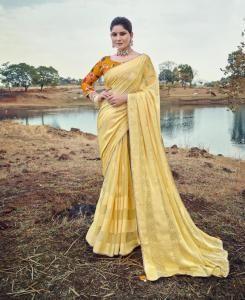 Printed Silk Saree in Light Yellow
