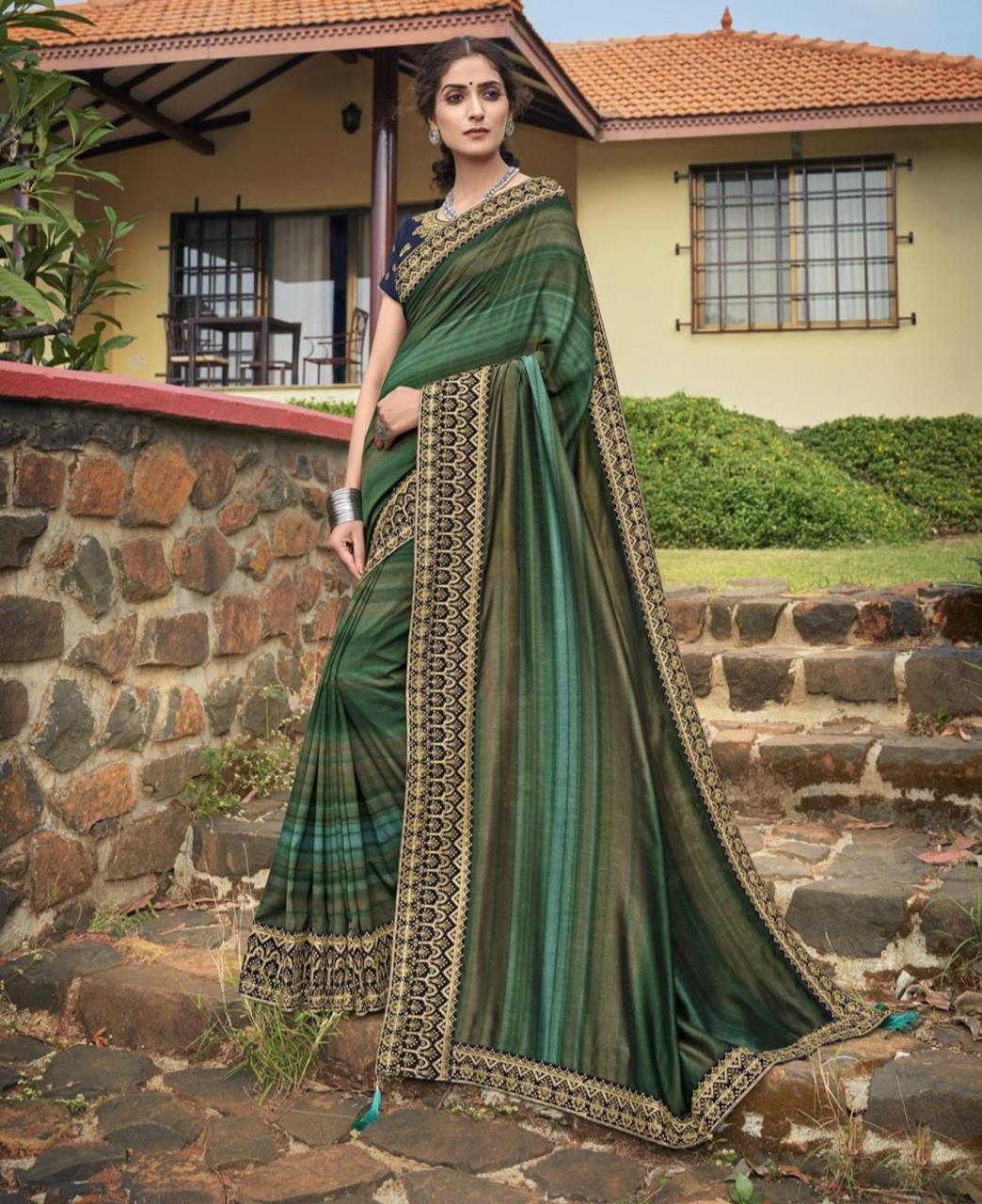 HandWorked Silk Saree in Turquoise
