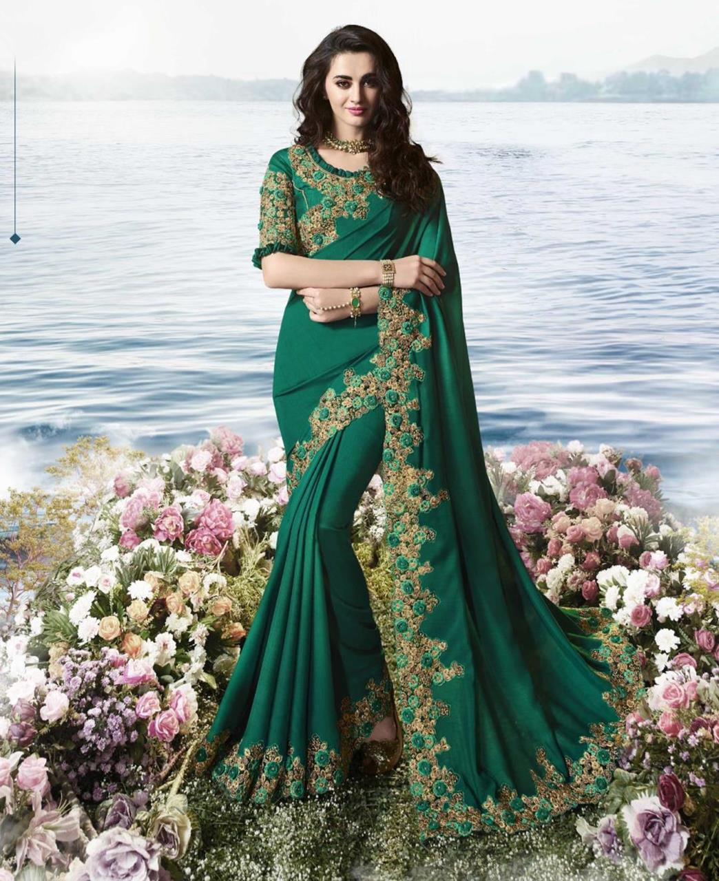 Silk Saree in Dark Green