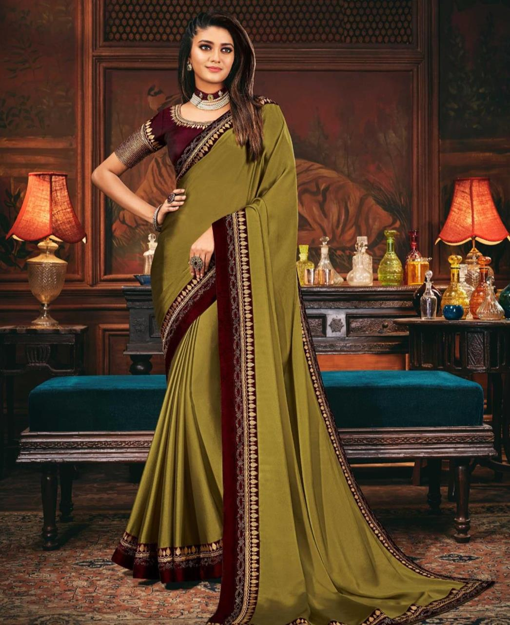 Lace Silk Saree in Olive Green