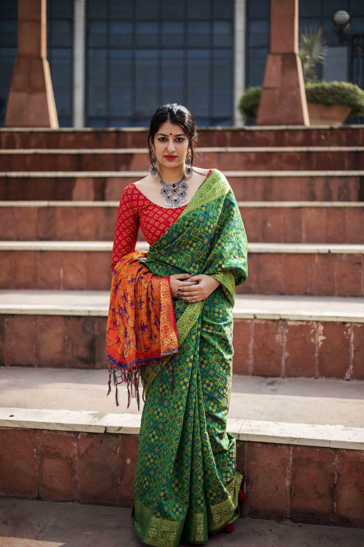 Woven Silk Saree (Sari) in Green