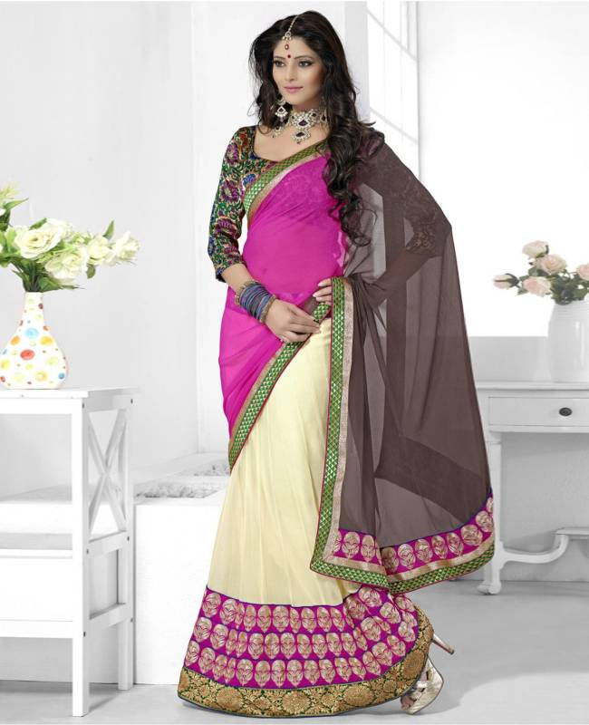 Border Worked Faux Georgette Chiffon Saree (Sari) in Off White