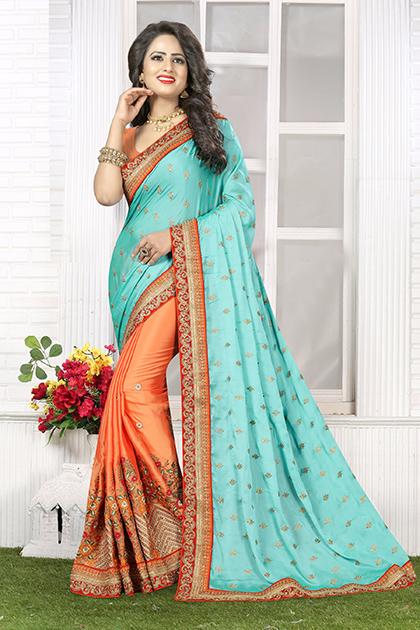 Embroidered Silk Saree (sari) in Aqua