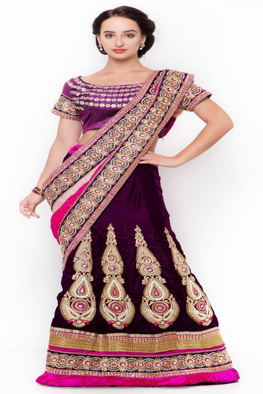 Embellishments Velvet Saree (Sari) in Purple