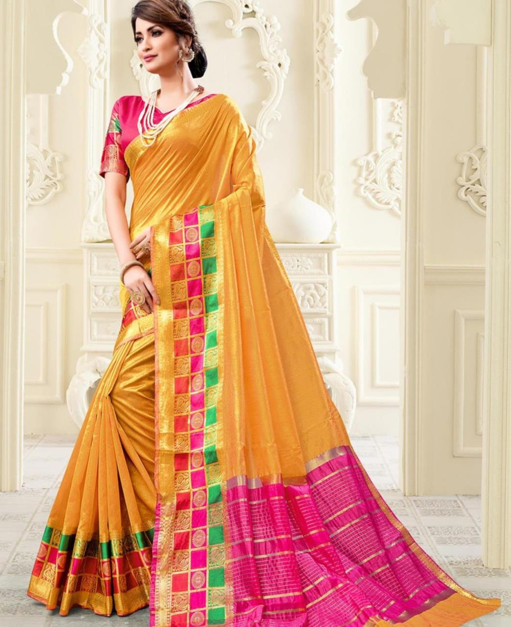Cotton Saree in Musturd Yellow