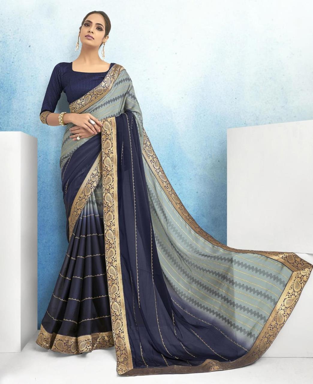 Lace Chiffon Saree in Grey  ,  Blue