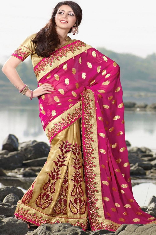 Embroidered Georgette Saree (Sari) in Gold