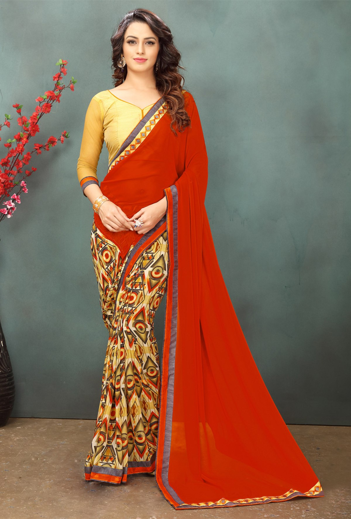 Thread Georgette Saree in Red