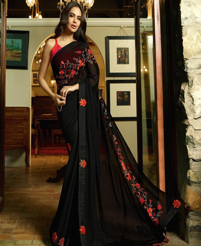 Embroidered Silk Saree in Black