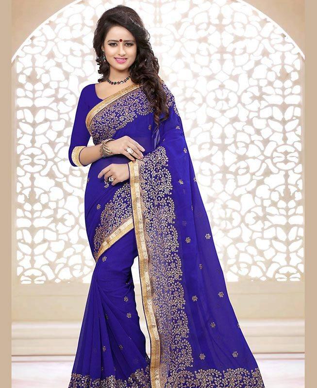 Butta Work Georgette Saree (Sari) in Blue