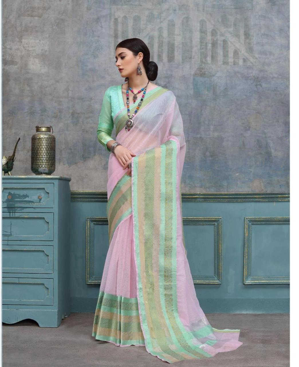 Border Work Cotton Saree (Sari) in LIGHTPINK