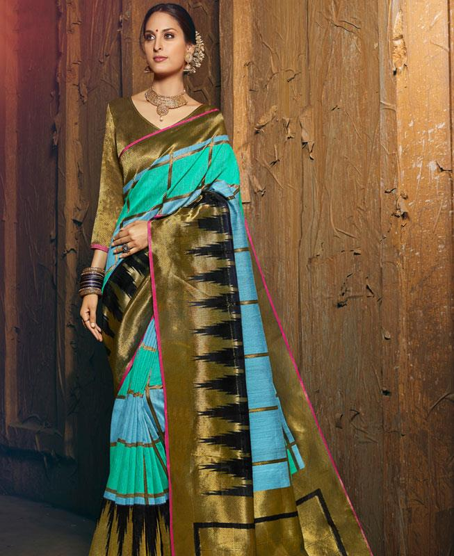 Woven Silk Saree in SKYBLUE