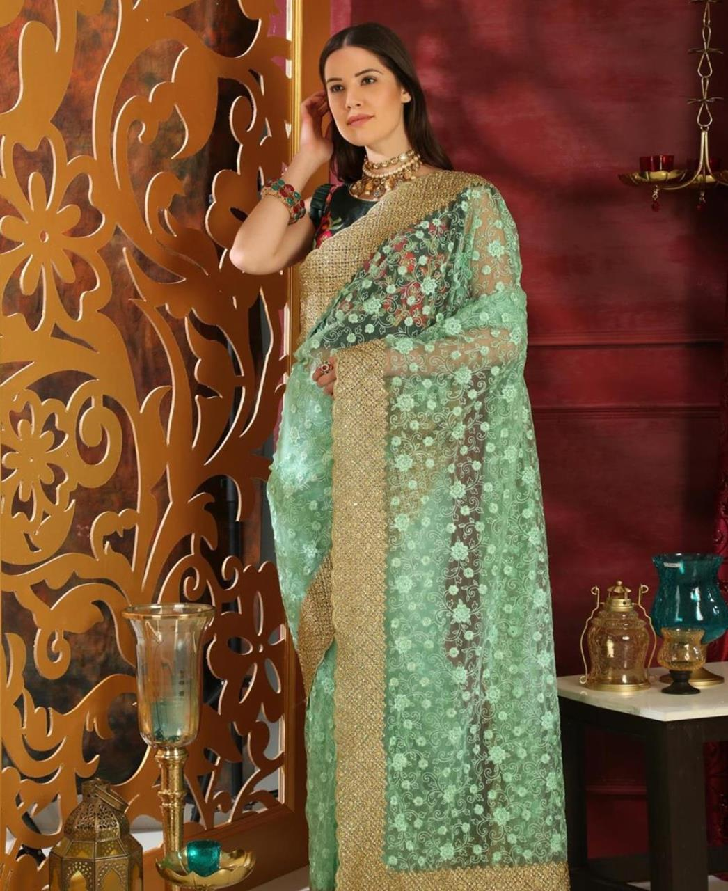 Embroidered Silk Saree (Sari) in MINTCREAM