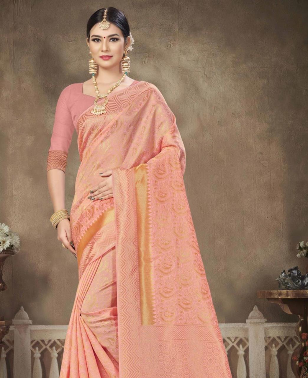 Woven Banarasi Silk Saree in PeachPuff