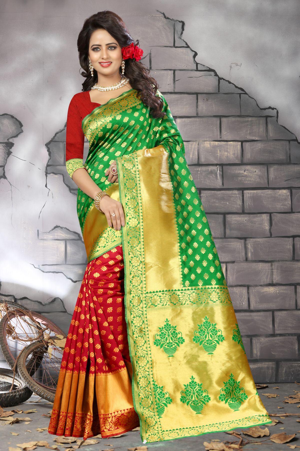Woven Banarasi Silk Saree in Red