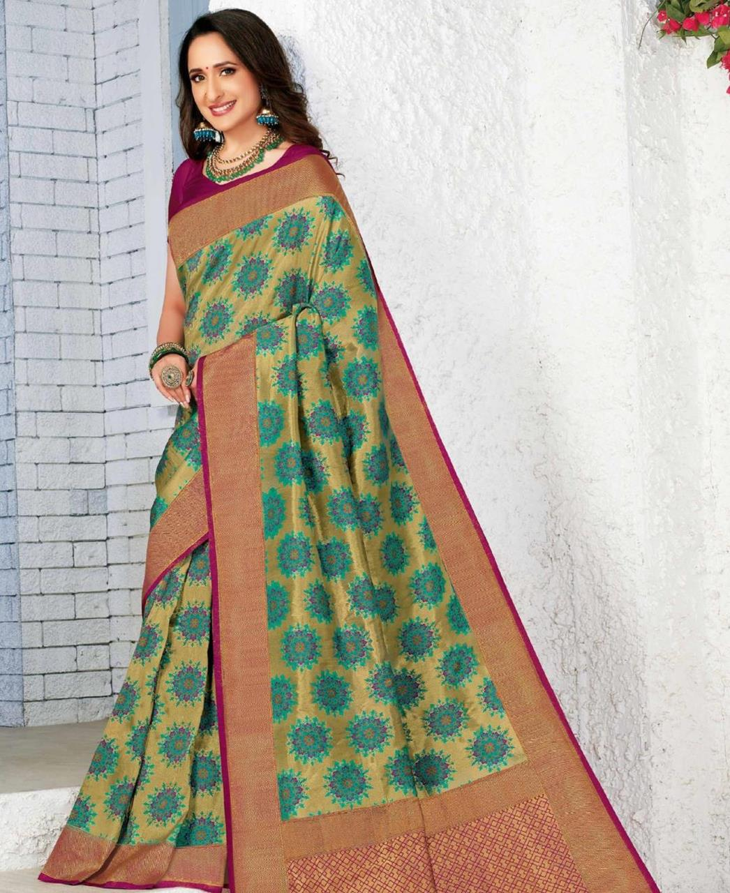 Silk Saree in Mehendi