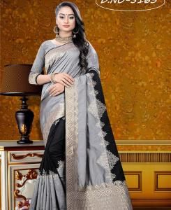 Silk Saree in GREY  ,  BLACK