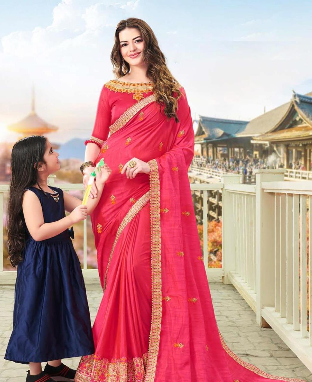 Embroidered Silk Saree in Coral Pink