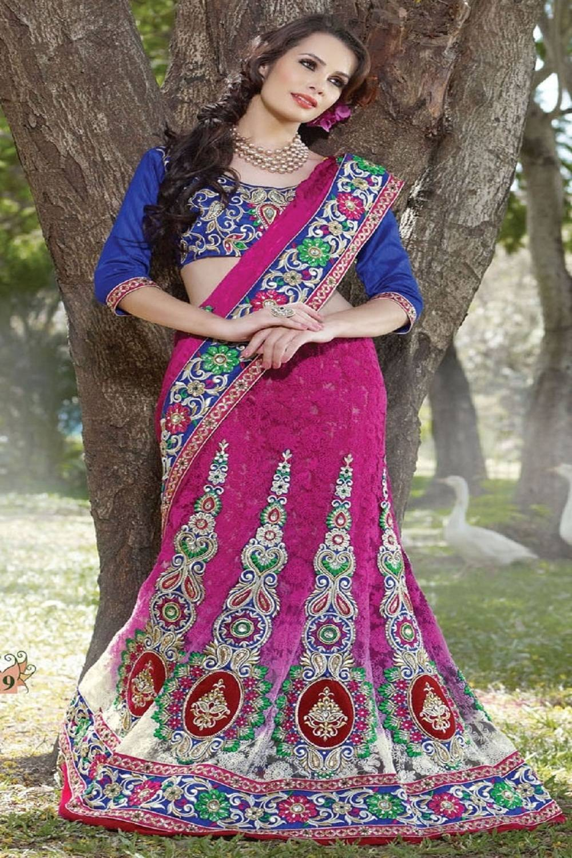 Embroidered Art Crepe Saree (Sari) in Pink