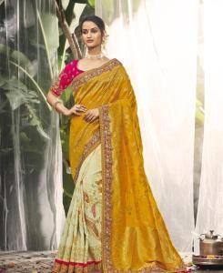 Embroidered Silk Saree in Mustard