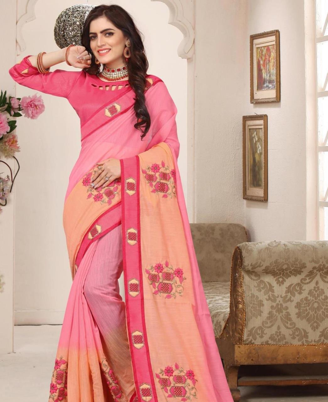 Border Work Silk Saree (Sari) in Pink