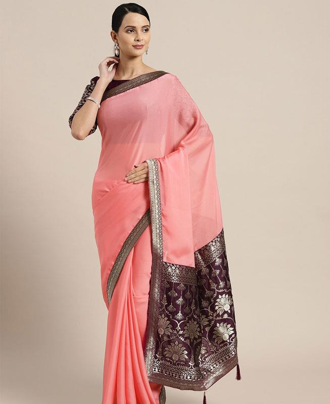 Jacquard Chiffon Saree (Sari) in Pink