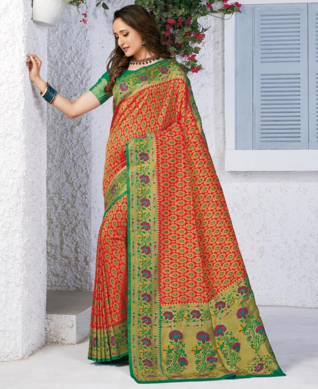 Silk Saree in Orange