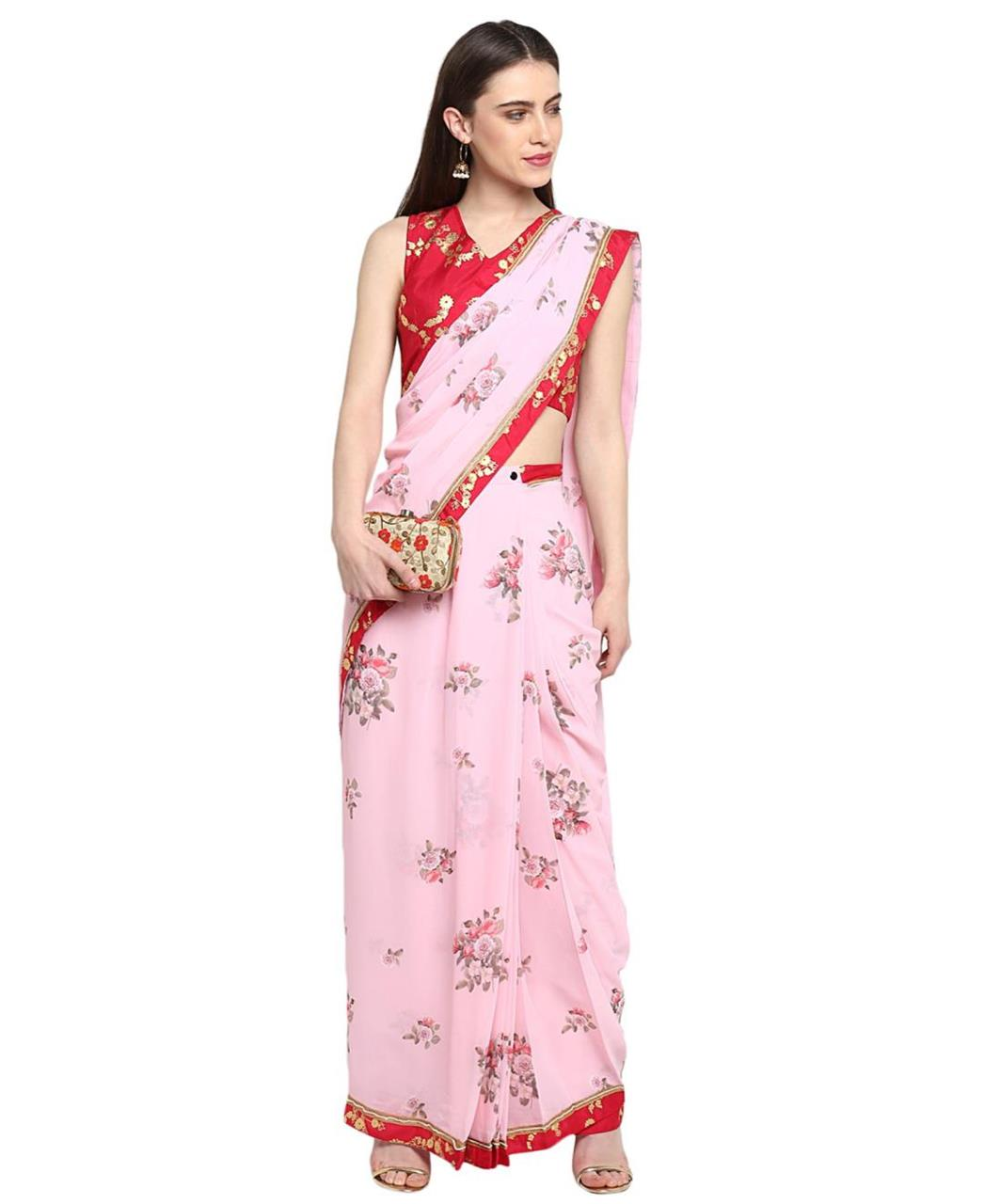 Printed Georgette Saree in Light Pink