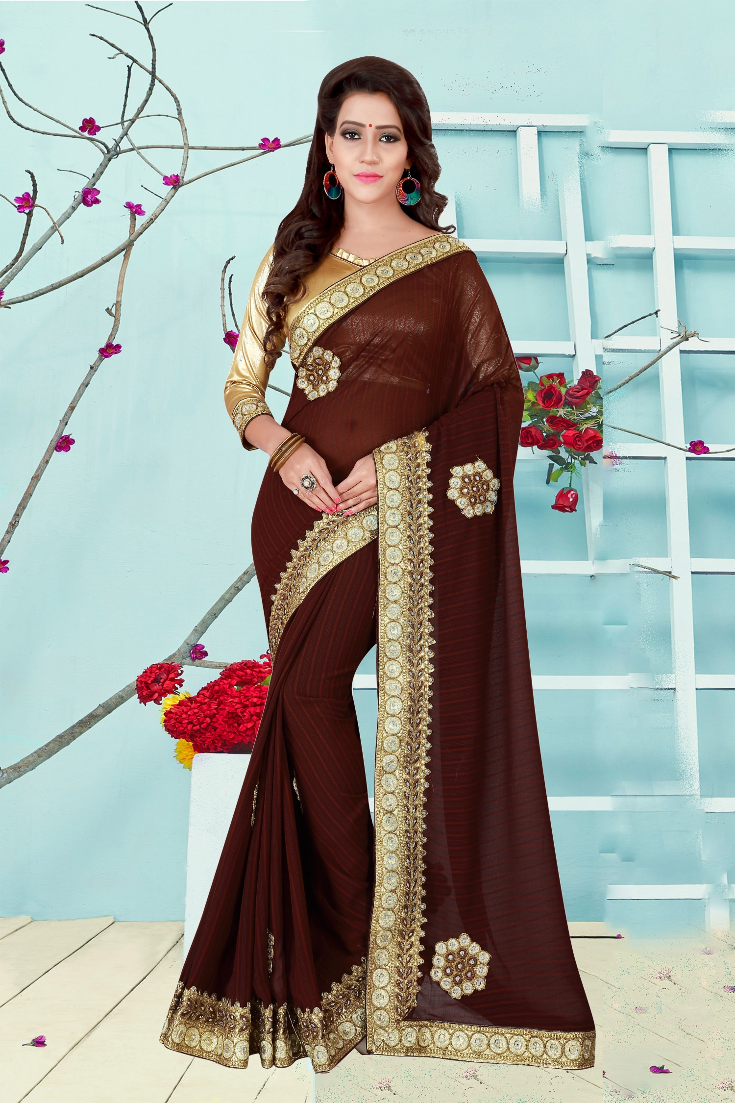 Embroidered Georgette Saree in Brown