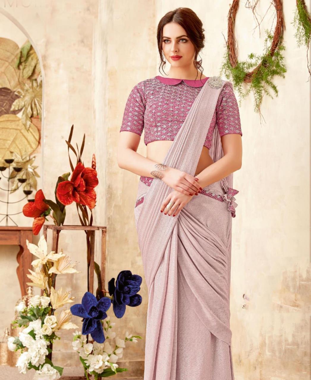 Embellishments Lycra Saree (Sari) in LIGHTPINK