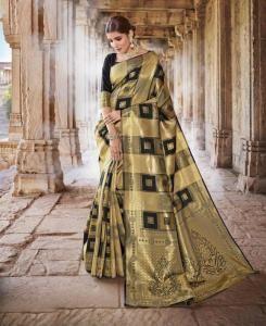 Stone Work Silk Saree in Golden