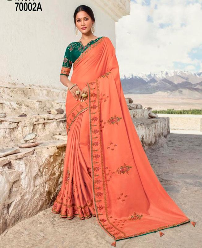 Zari Silk Saree (Sari) in PeachPuff