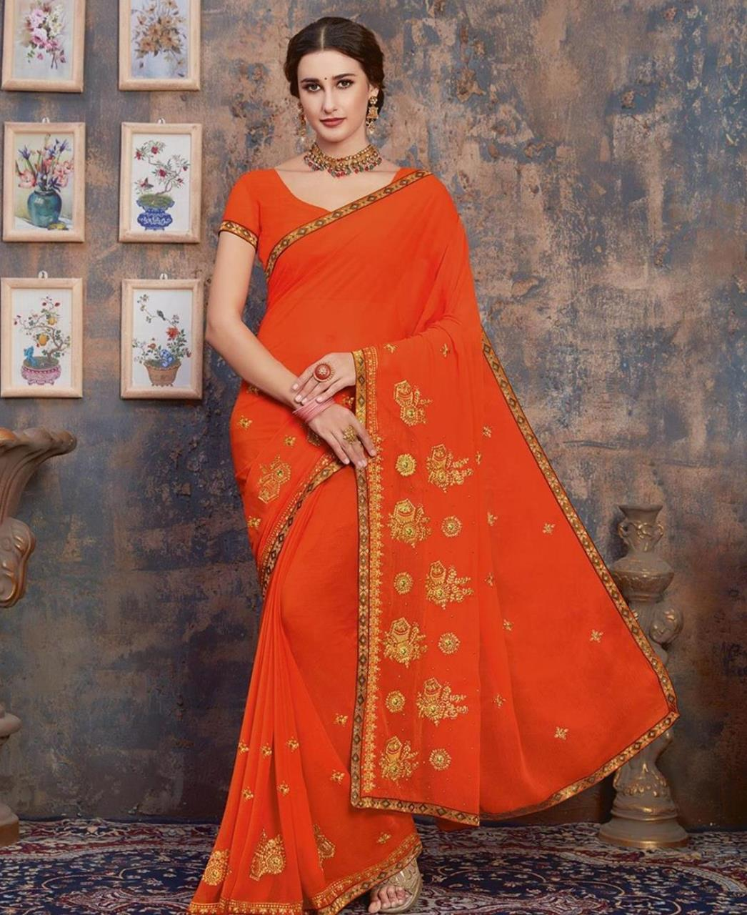 Stone Work Georgette Saree in Orange