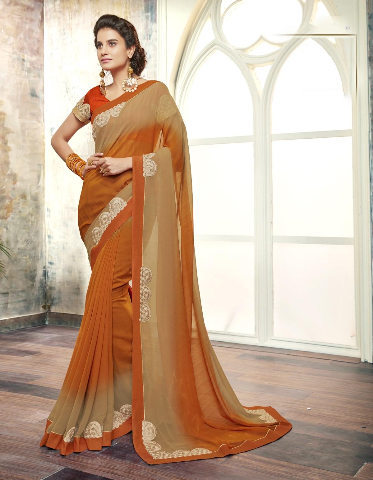 Plain Georgette Saree (Sari) in Orange