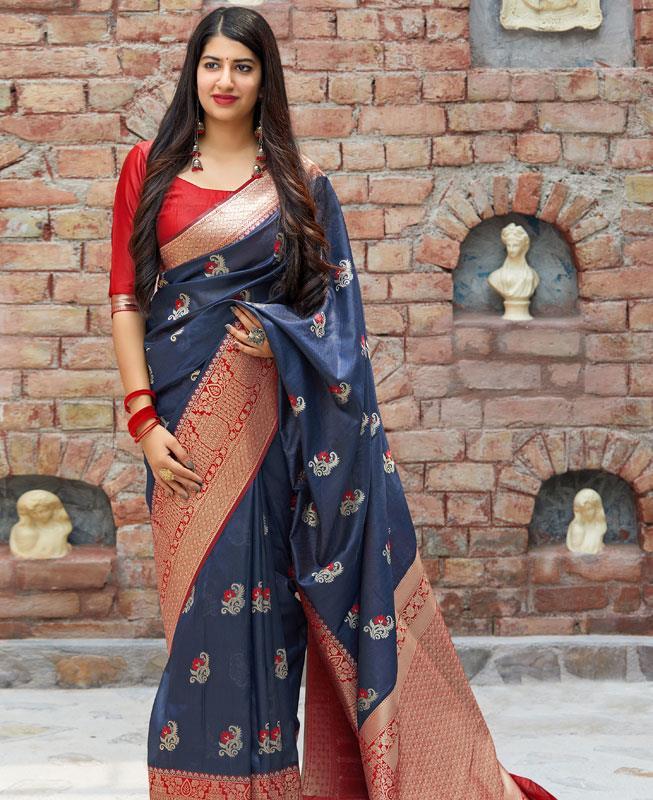 Woven Banarasi Silk Saree in Blue