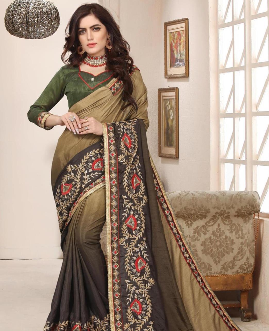 Border Work Silk Saree (Sari) in Brown