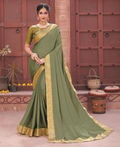 Plain Chiffon Saree in Green