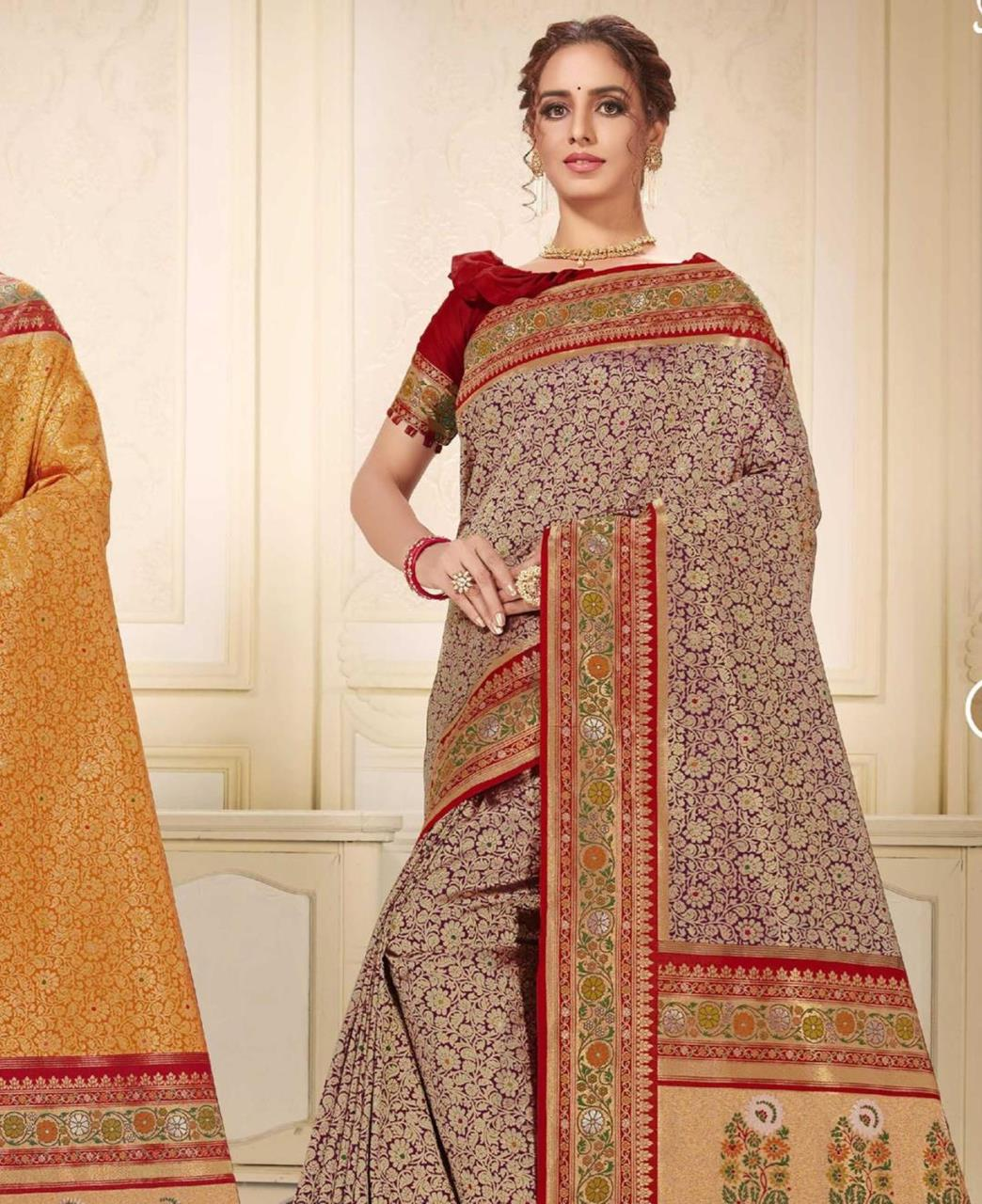 Printed Silk Saree in Gray